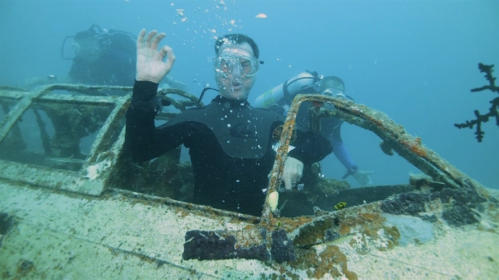 Diver Dave Blowing Bubbles on the Betty Bomber